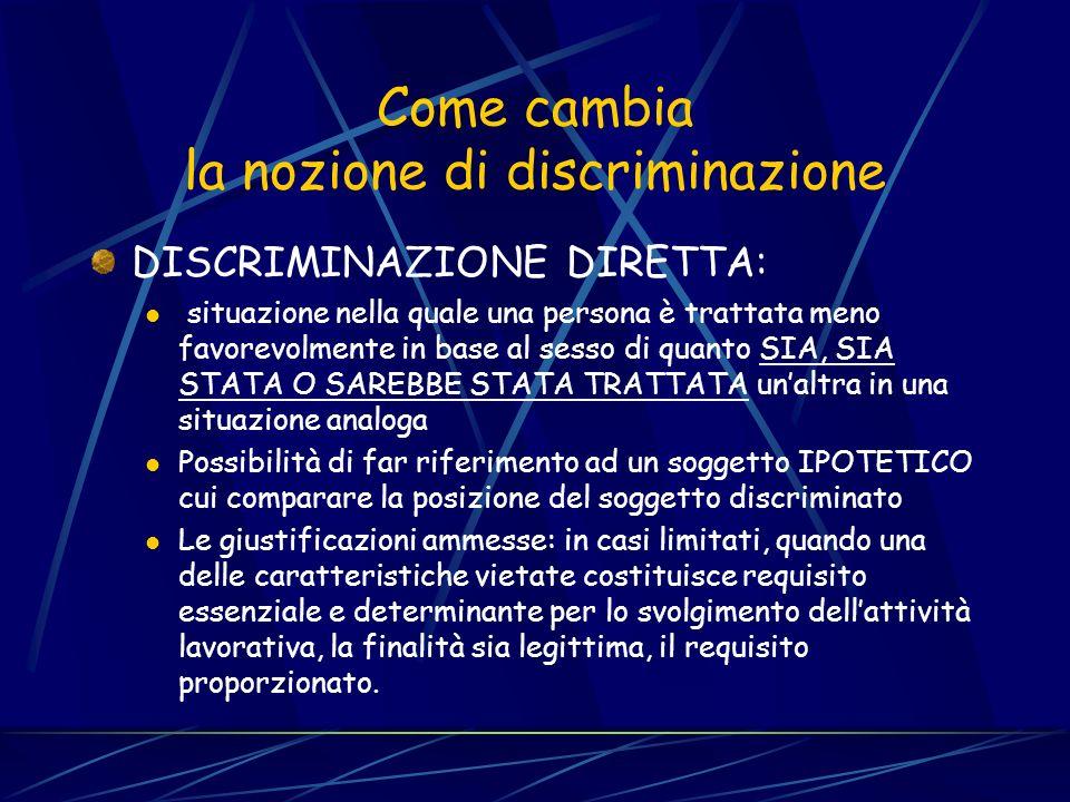 Le definizioni sono omogenee, le tutele differenziate La nozione di discriminazione diretta, indiretta e di molestia è comune alle diverse direttive N