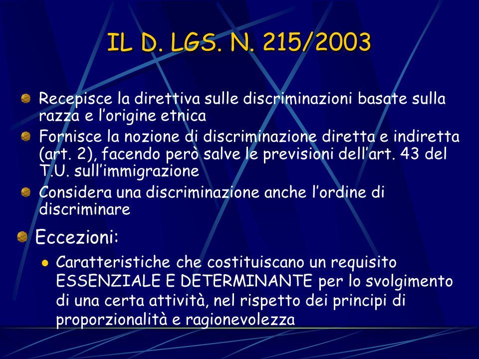 IL RECEPIMENTO DELLE DIRETTIVE IN ITALIA D. Lgs. 9 luglio 2003, n. 215. Parità di trattamento tra le persone indipendentemente dalla razza e dallorigi