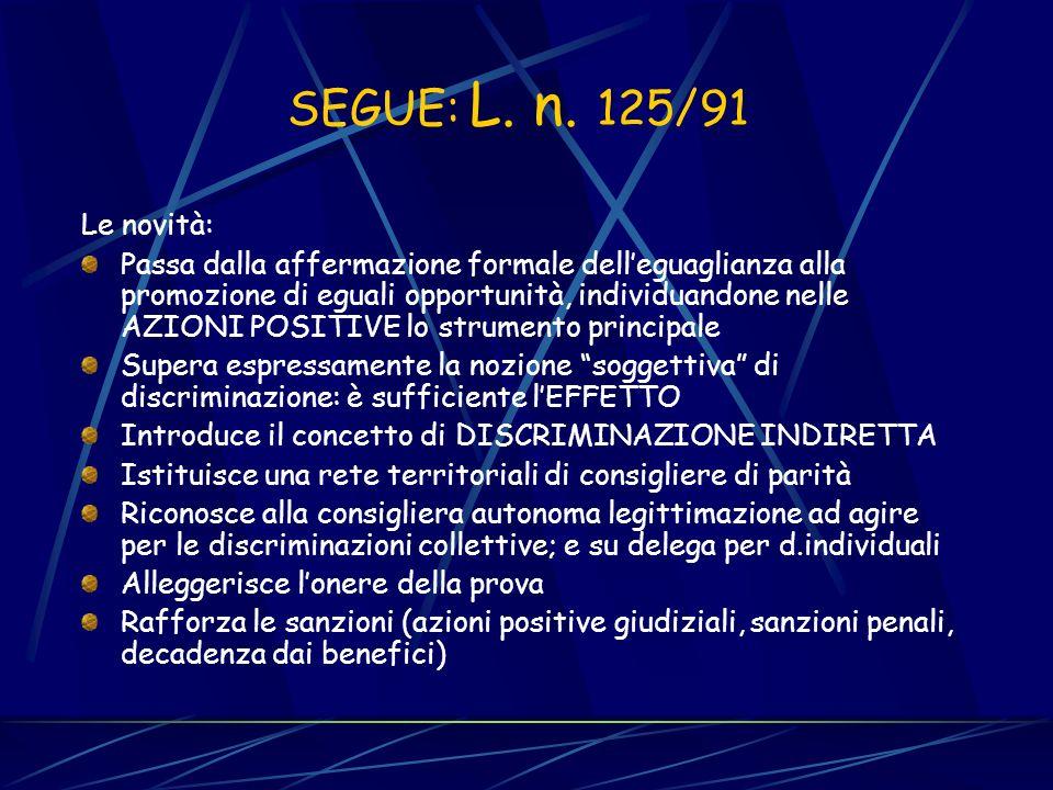 LA SECONDA FASE DELLA VECCHIA LEGISLAZIONE ANTIDISCRIMINATORIA L. n. 903/77 Le novità: il divieto di discriminazione assume valore autonomo, in quanto