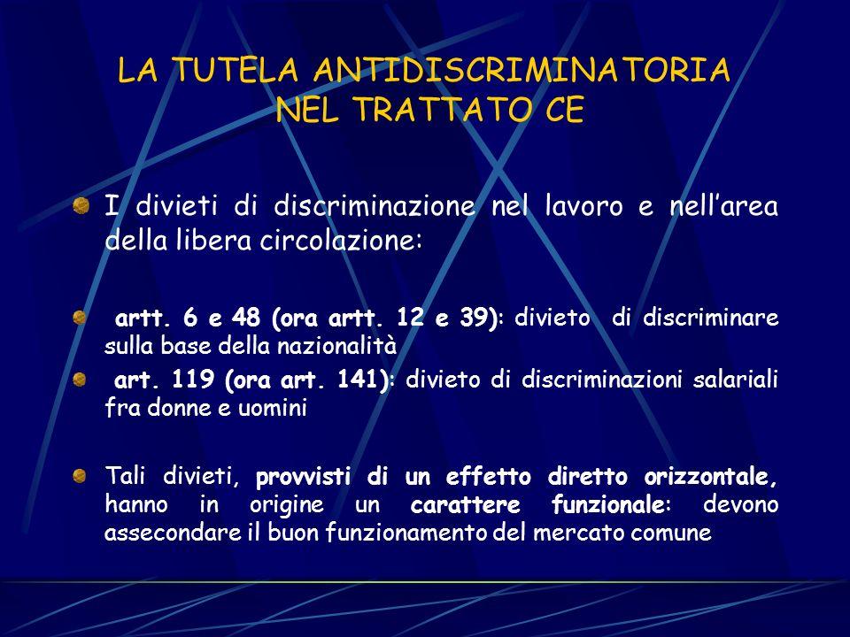 Artt. 43 e 44 T.U. IMMIGRAZIONE Adotta una nozione ampia di discriminazione razziale Fa riferimento non ad solo atti o patti, ma anche a comportamenti