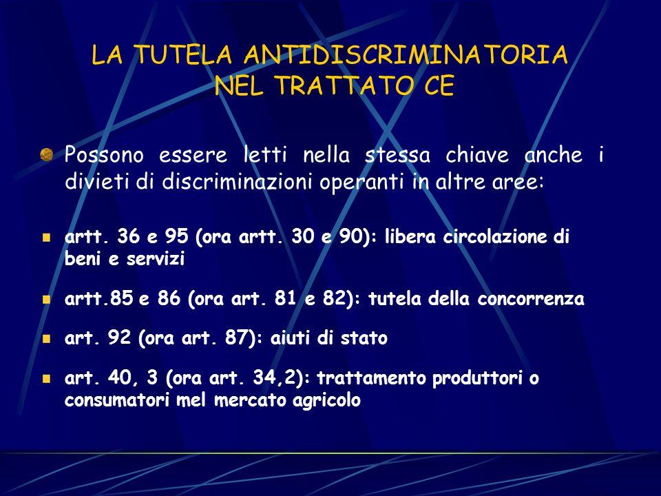 LA TUTELA ANTIDISCRIMINATORIA NEL TRATTATO CE I divieti di discriminazione nel lavoro e nellarea della libera circolazione: artt. 6 e 48 (ora artt. 12