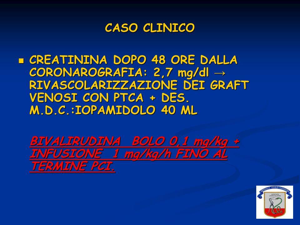 CASO CLINICO CREATININA DOPO 48 ORE DALLA CORONAROGRAFIA: 2,7 mg/dl RIVASCOLARIZZAZIONE DEI GRAFT VENOSI CON PTCA + DES. M.D.C.:IOPAMIDOLO 40 ML CREAT