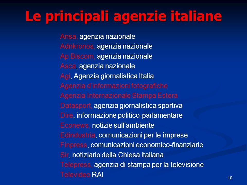 10 Le principali agenzie italiane Ansa, agenzia nazionale Adnkronos, agenzia nazionale Ap Biscom, agenzia nazionale Asca, agenzia nazionale Agi, Agenz