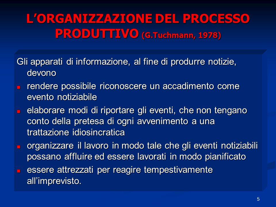 5 LORGANIZZAZIONE DEL PROCESSO PRODUTTIVO (G.Tuchmann, 1978) Gli apparati di informazione, al fine di produrre notizie, devono rendere possibile ricon