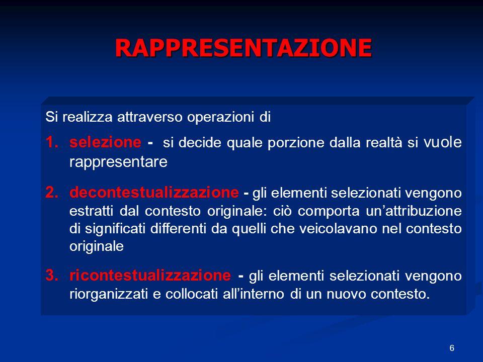 6 RAPPRESENTAZIONE Si realizza attraverso operazioni di 1.selezione - si decide quale porzione dalla realtà si vuole rappresentare 2.decontestualizzaz