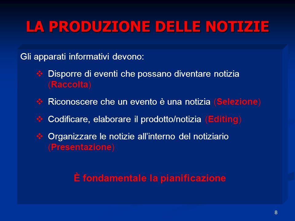 8 LA PRODUZIONE DELLE NOTIZIE Gli apparati informativi devono: Disporre di eventi che possano diventare notizia (Raccolta) Riconoscere che un evento è