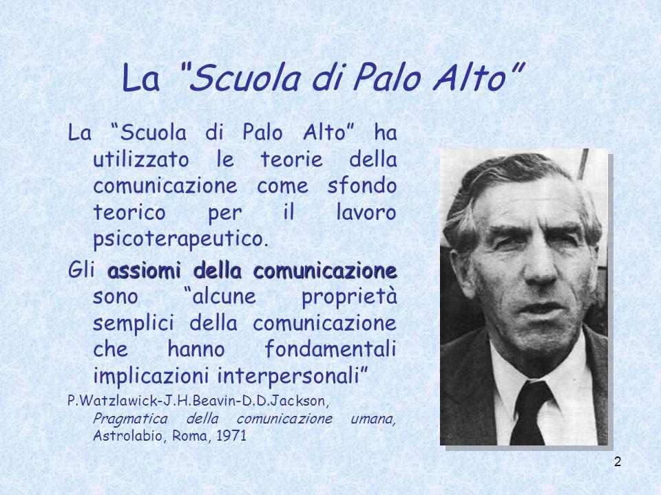 2 La Scuola di Palo Alto La Scuola di Palo Alto ha utilizzato le teorie della comunicazione come sfondo teorico per il lavoro psicoterapeutico.