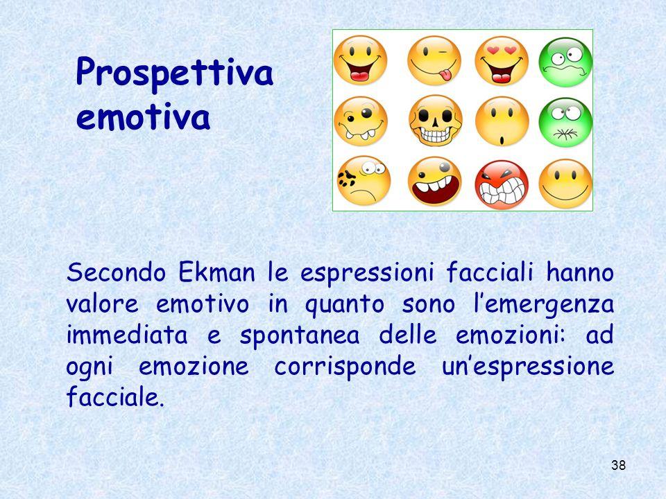 38 Prospettiva emotiva Secondo Ekman le espressioni facciali hanno valore emotivo in quanto sono lemergenza immediata e spontanea delle emozioni: ad o