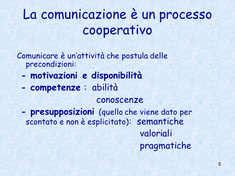 5 La comunicazione è un processo cooperativo Comunicare è unattività che postula delle precondizioni: - motivazioni e disponibilità - competenze : abi