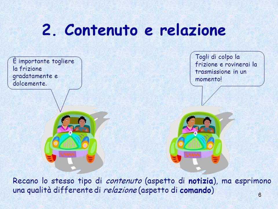 6 2.Contenuto e relazione È importante togliere la frizione gradatamente e dolcemente.