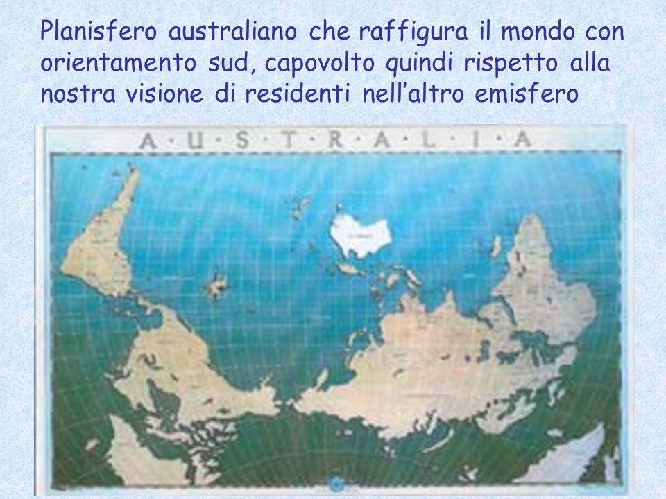 66 Planisfero australiano che raffigura il mondo con orientamento sud, capovolto quindi rispetto alla nostra visione di residenti nellaltro emisfero