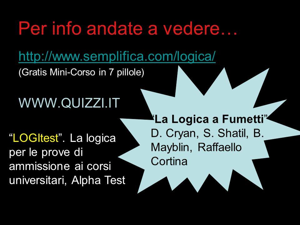 Per info andate a vedere… http://www.semplifica.com/logica/ (Gratis Mini-Corso in 7 pillole) WWW.QUIZZI.IT La Logica a Fumetti D. Cryan, S. Shatil, B.