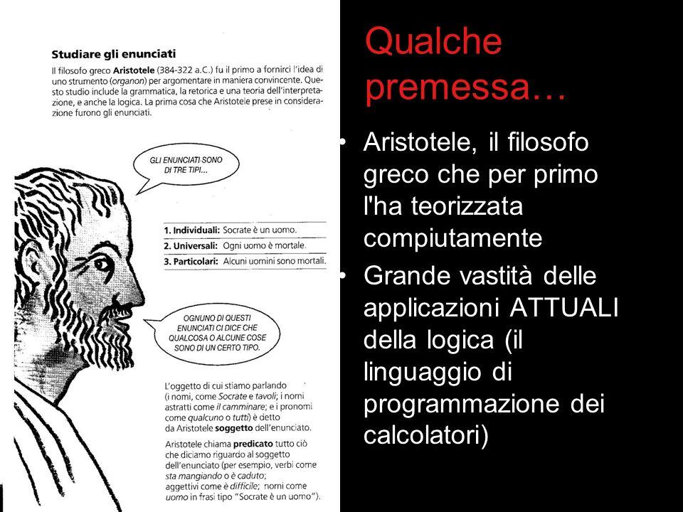 Qualche premessa… Aristotele, il filosofo greco che per primo l'ha teorizzata compiutamente Grande vastità delle applicazioni ATTUALI della logica (il
