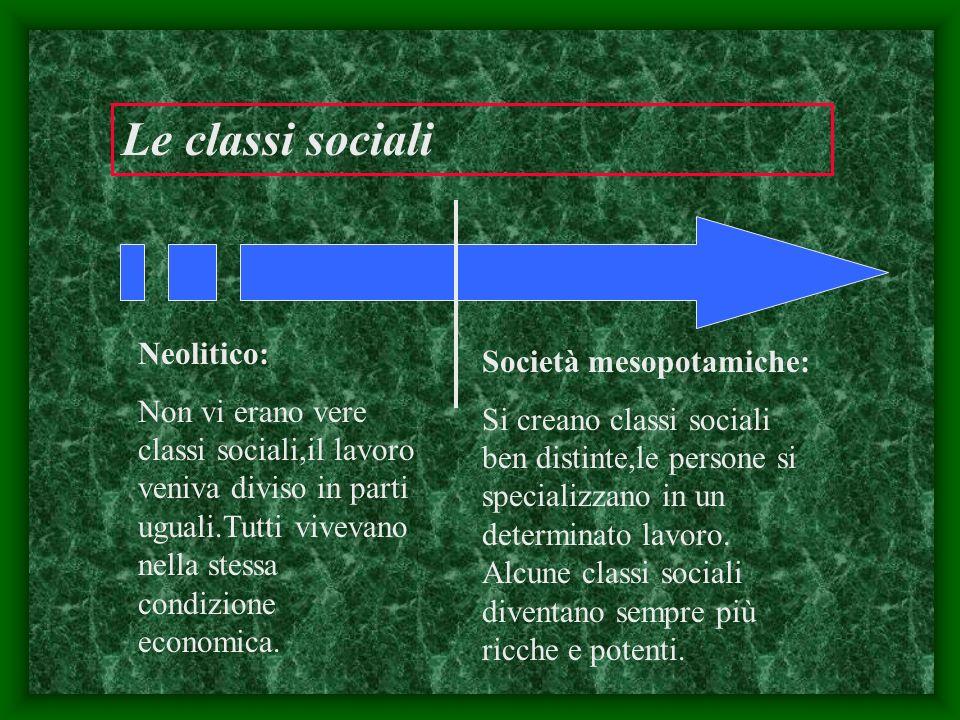 Le classi sociali Neolitico: Non vi erano vere classi sociali,il lavoro veniva diviso in parti uguali.Tutti vivevano nella stessa condizione economica