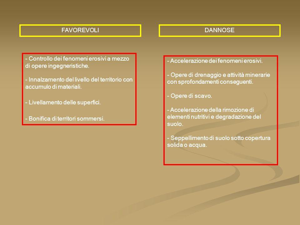 FAVOREVOLIDANNOSE - Controllo dei fenomeni erosivi a mezzo di opere ingegneristiche. - Innalzamento del livello del territorio con accumulo di materia