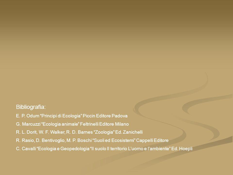 Bibliografia: E. P. Odum Principi di Ecologia Piccin Editore Padova G. Marcuzzi Ecologia animale Feltrinelli Editore Milano R. L. Dorit, W. F. Walker,