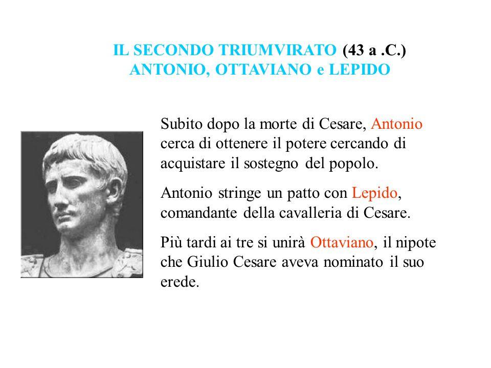 Subito dopo la morte di Cesare, Antonio cerca di ottenere il potere cercando di acquistare il sostegno del popolo. Antonio stringe un patto con Lepido