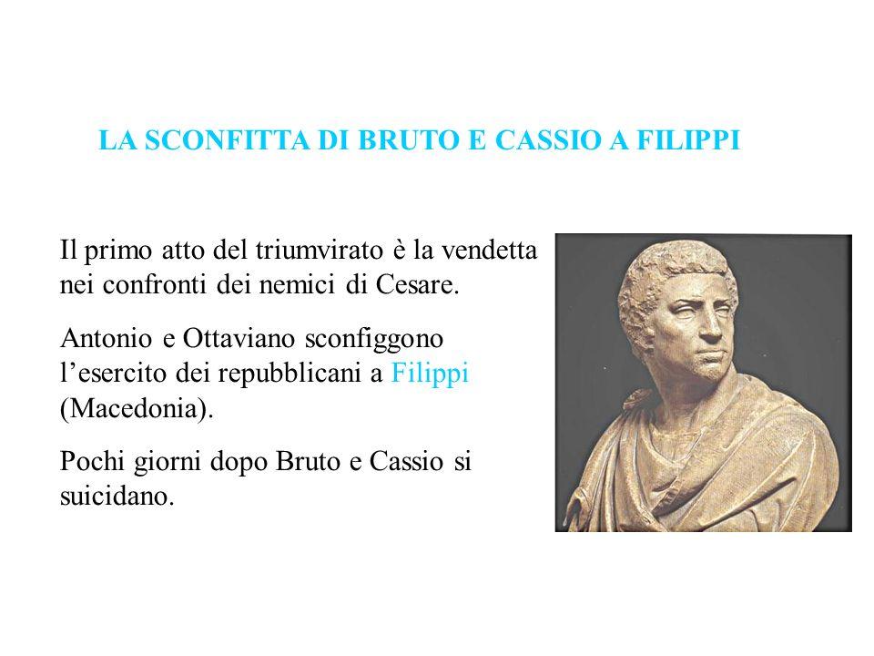 Il primo atto del triumvirato è la vendetta nei confronti dei nemici di Cesare. Antonio e Ottaviano sconfiggono lesercito dei repubblicani a Filippi (