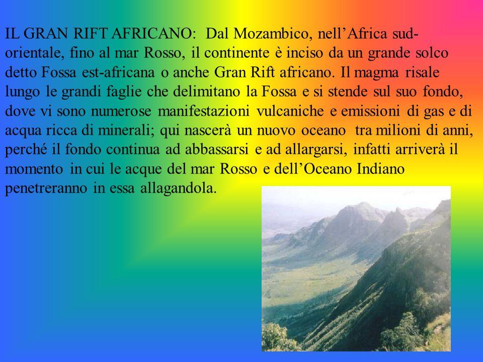 IL GRAN RIFT AFRICANO: Dal Mozambico, nellAfrica sud- orientale, fino al mar Rosso, il continente è inciso da un grande solco detto Fossa est-africana