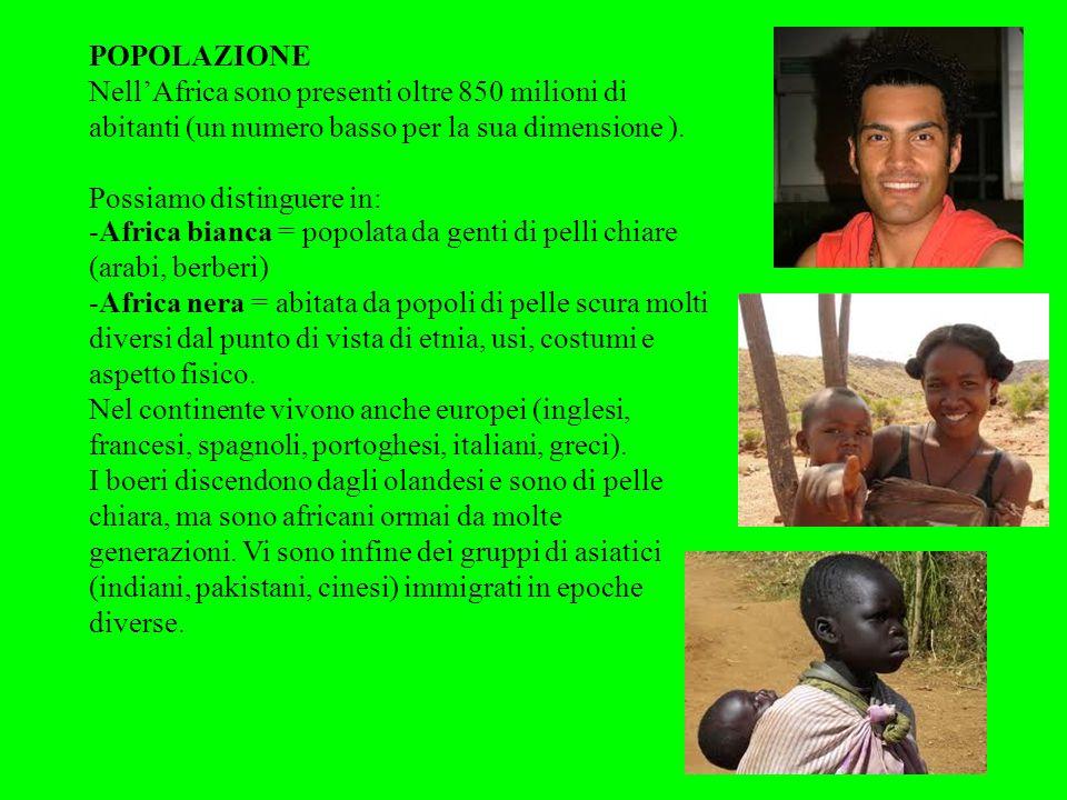 POPOLAZIONE NellAfrica sono presenti oltre 850 milioni di abitanti (un numero basso per la sua dimensione ). Possiamo distinguere in: -Africa bianca =