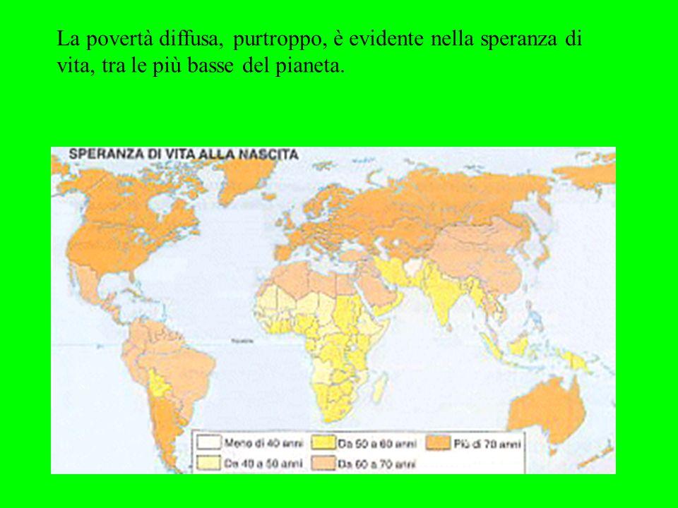 La povertà diffusa, purtroppo, è evidente nella speranza di vita, tra le più basse del pianeta.