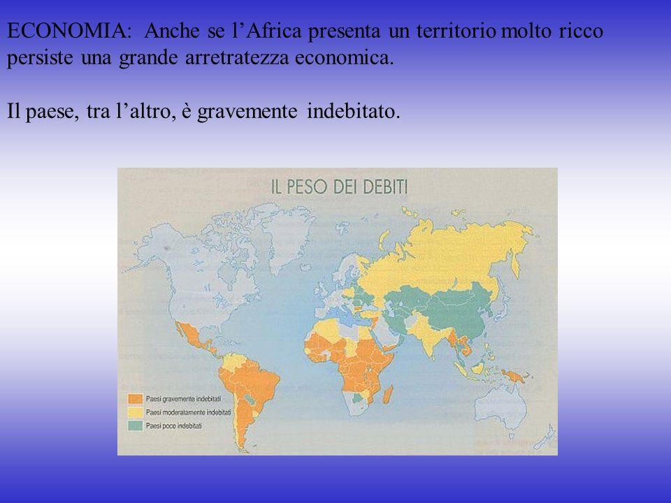 ECONOMIA: Anche se lAfrica presenta un territorio molto ricco persiste una grande arretratezza economica. Il paese, tra laltro, è gravemente indebitat