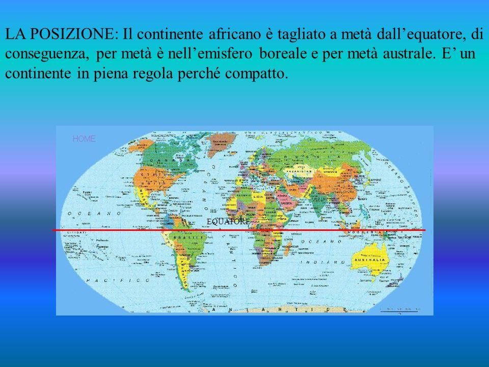 LA POSIZIONE: Il continente africano è tagliato a metà dallequatore, di conseguenza, per metà è nellemisfero boreale e per metà australe. E un contine