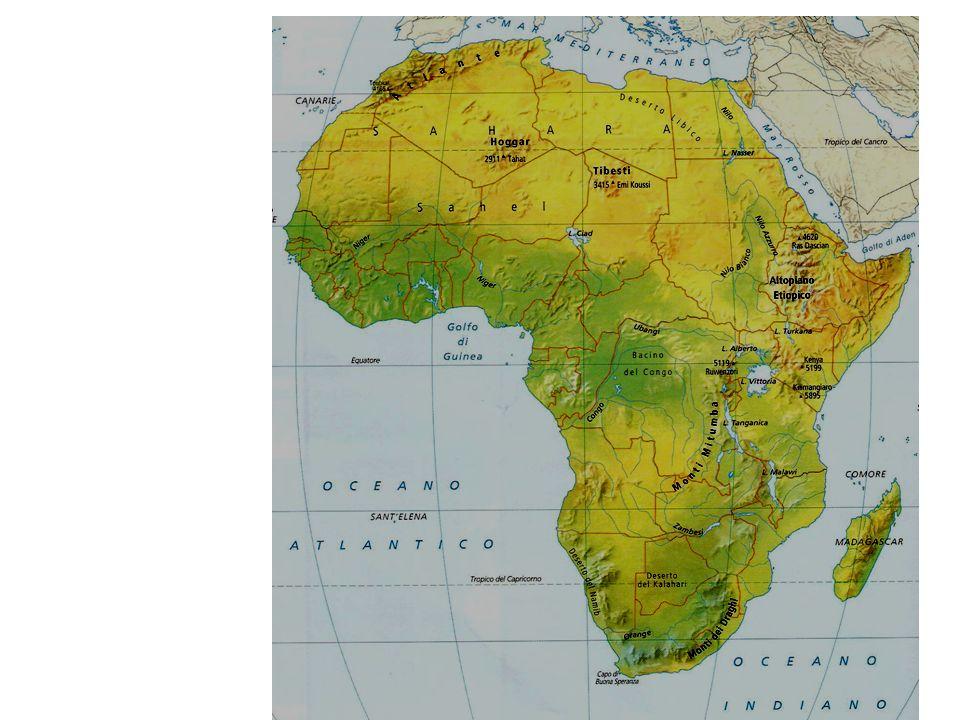 I TAVOLATI: Il territorio interno è costituito da un immenso tavolato che si interrompe in prossimità delle pianure costiere e di qualche bacino interno, come il fiume Congo.