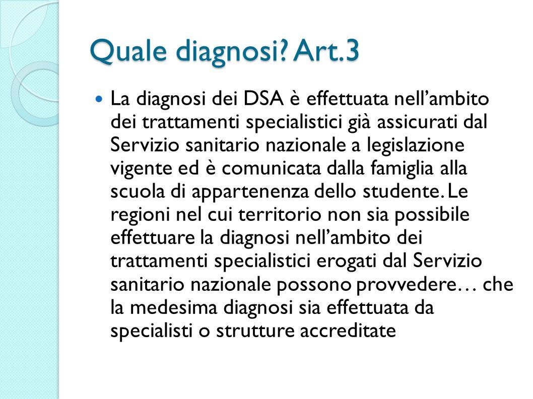 Quale diagnosi? Art.3 La diagnosi dei DSA è effettuata nellambito dei trattamenti specialistici già assicurati dal Servizio sanitario nazionale a legi