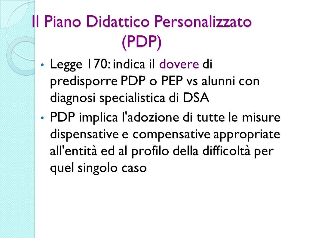 Il Piano Didattico Personalizzato (PDP) Legge 170: indica il dovere di predisporre PDP o PEP vs alunni con diagnosi specialistica di DSA PDP implica l