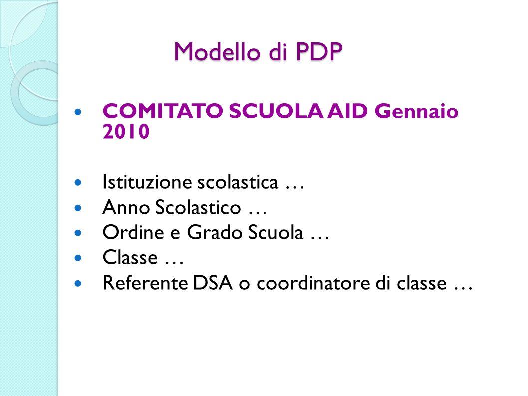 Modello di PDP COMITATO SCUOLA AID Gennaio 2010 Istituzione scolastica … Anno Scolastico … Ordine e Grado Scuola … Classe … Referente DSA o coordinato