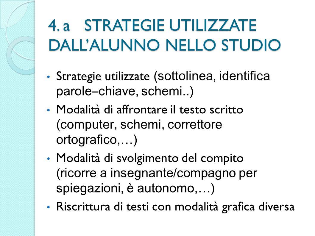 4. a STRATEGIE UTILIZZATE DALLALUNNO NELLO STUDIO Strategie utilizzate (sottolinea, identifica parole–chiave, schemi..) Modalità di affrontare il test