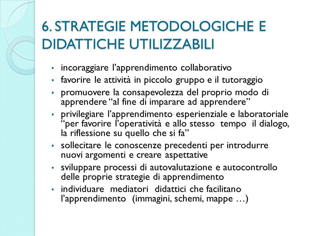6. STRATEGIE METODOLOGICHE E DIDATTICHE UTILIZZABILI incoraggiare lapprendimento collaborativo favorire le attività in piccolo gruppo e il tutoraggio