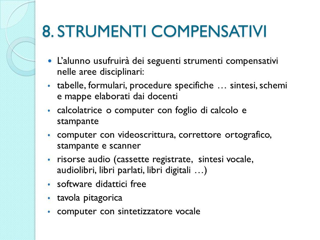 8. STRUMENTI COMPENSATIVI Lalunno usufruirà dei seguenti strumenti compensativi nelle aree disciplinari: tabelle, formulari, procedure specifiche … si