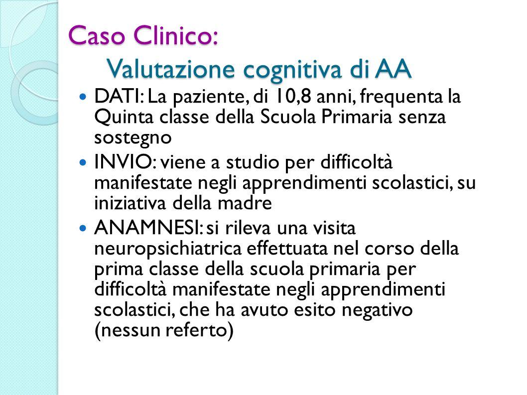 Caso Clinico: Valutazione cognitiva di AA DATI: La paziente, di 10,8 anni, frequenta la Quinta classe della Scuola Primaria senza sostegno INVIO: vien