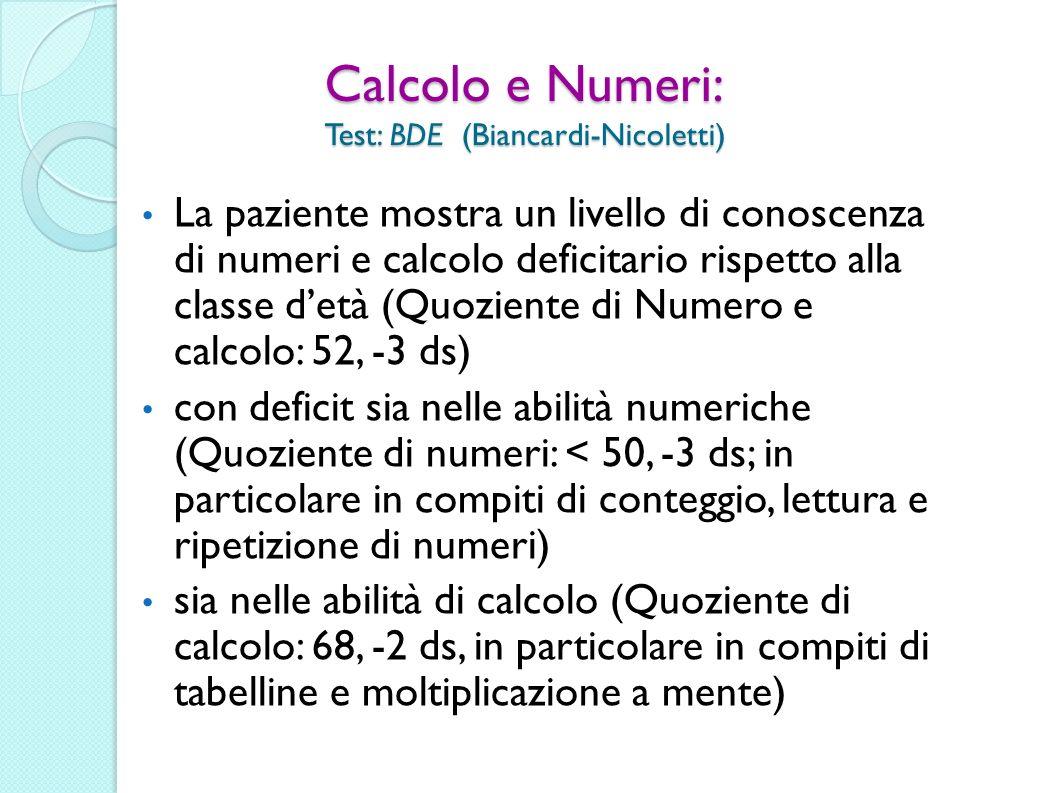 Calcolo e Numeri: Test: BDE (Biancardi-Nicoletti) La paziente mostra un livello di conoscenza di numeri e calcolo deficitario rispetto alla classe det