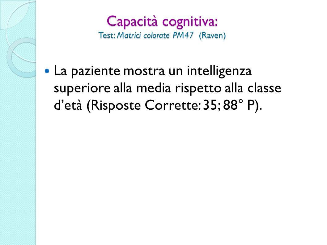 Capacità cognitiva: Test: Matrici colorate PM47 (Raven) La paziente mostra un intelligenza superiore alla media rispetto alla classe detà (Risposte Co