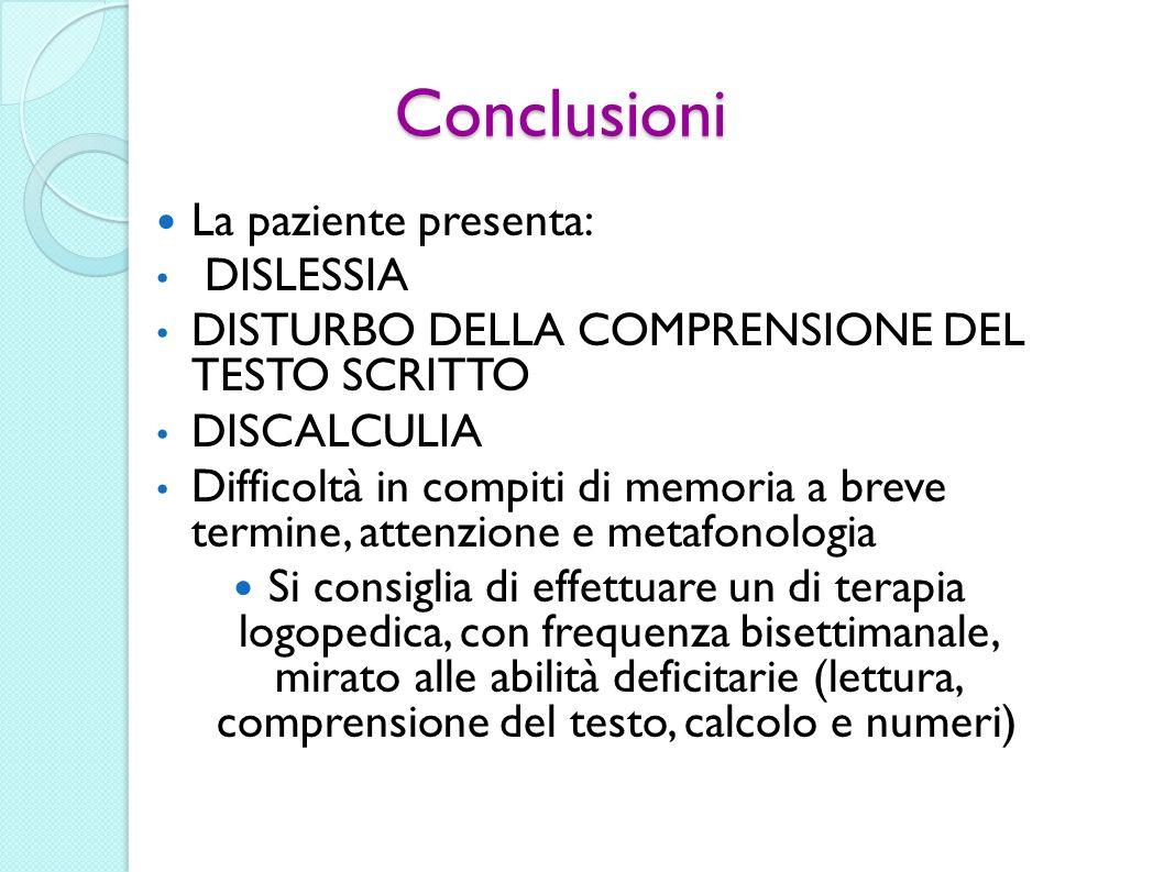Conclusioni La paziente presenta: DISLESSIA DISTURBO DELLA COMPRENSIONE DEL TESTO SCRITTO DISCALCULIA Difficoltà in compiti di memoria a breve termine