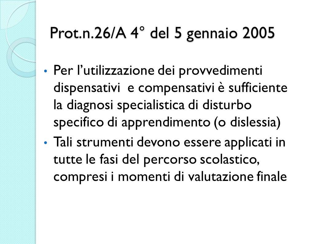 Prot.n.26/A 4° del 5 gennaio 2005 Per lutilizzazione dei provvedimenti dispensativi e compensativi è sufficiente la diagnosi specialistica di disturbo