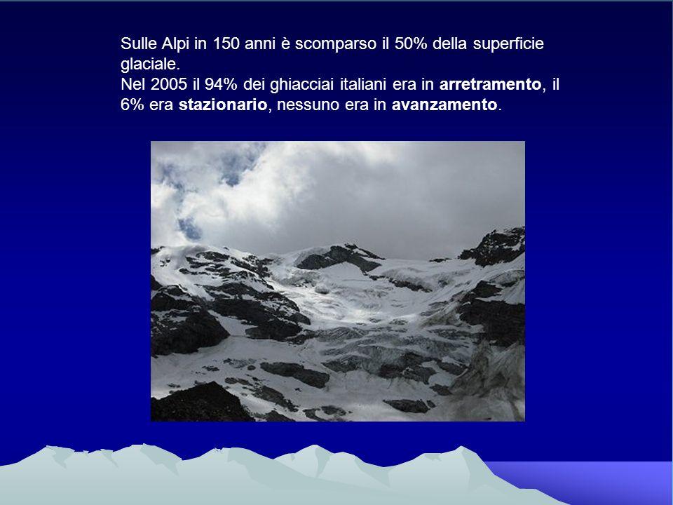 Sulle Alpi in 150 anni è scomparso il 50% della superficie glaciale. Nel 2005 il 94% dei ghiacciai italiani era in arretramento, il 6% era stazionario