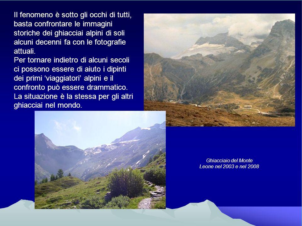Il fenomeno è sotto gli occhi di tutti, basta confrontare le immagini storiche dei ghiacciai alpini di soli alcuni decenni fa con le fotografie attual