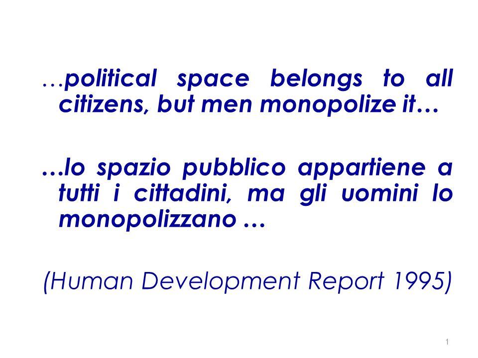 La rappresentanza femminile nel Parlamento Italiano 1972-2003 (%) Fonte: Commissione Nazionale Pari Opportunità 12