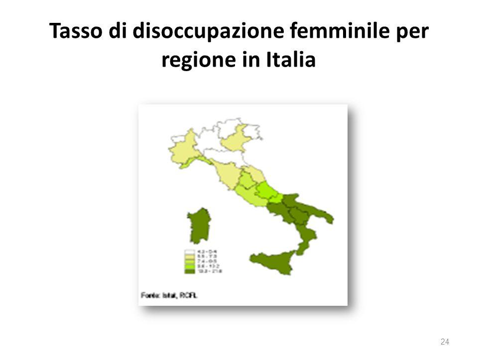 Tasso di disoccupazione femminile per regione in Italia 24