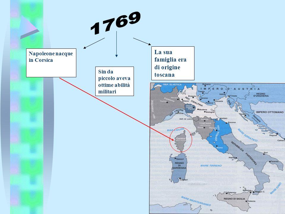 Napoleone nacque in Corsica Sin da piccolo aveva ottime abilità militari La sua famiglia era di origine toscana