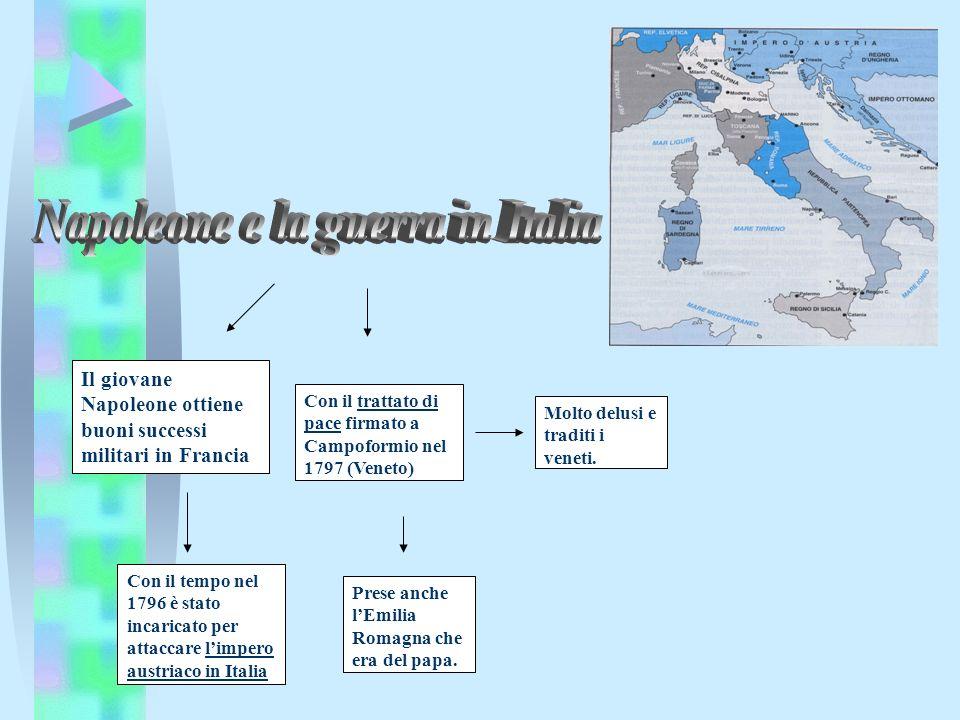 Con il trattato di pace firmato a Campoformio nel 1797 (Veneto) Prese anche lEmilia Romagna che era del papa. Con il tempo nel 1796 è stato incaricato