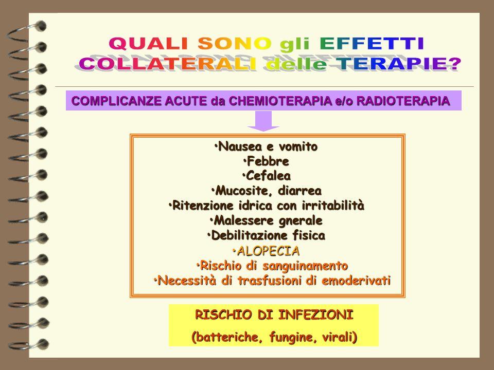 Nausea e vomitoNausea e vomito FebbreFebbre CefaleaCefalea Mucosite, diarreaMucosite, diarrea Ritenzione idrica con irritabilitàRitenzione idrica con