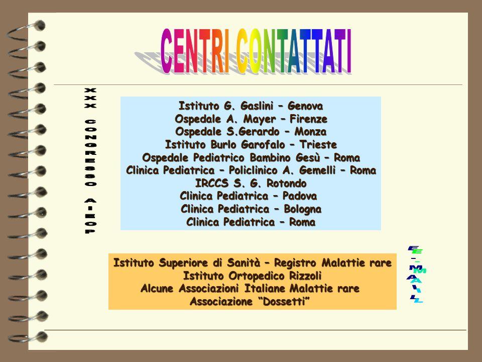 Istituto G. Gaslini – Genova Ospedale A. Mayer – Firenze Ospedale S.Gerardo – Monza Istituto Burlo Garofalo – Trieste Ospedale Pediatrico Bambino Gesù
