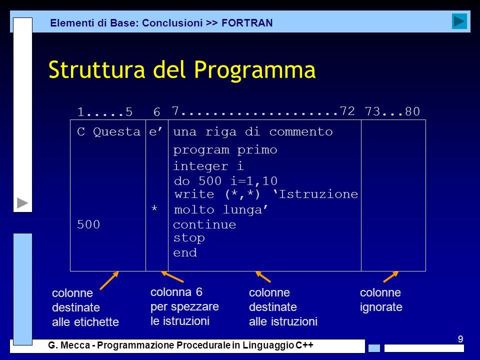 9 G. Mecca - Programmazione Procedurale in Linguaggio C++ Struttura del Programma Elementi di Base: Conclusioni >> FORTRAN 1.....56 7.................