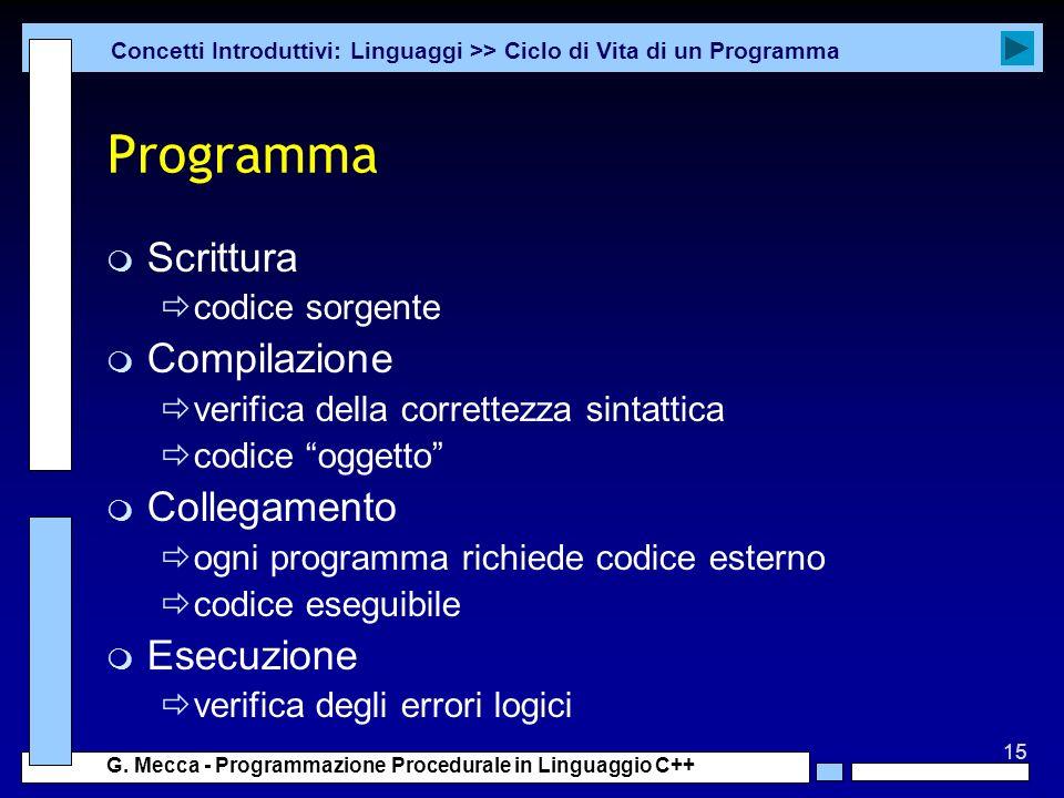 15 G. Mecca - Programmazione Procedurale in Linguaggio C++ Programma m Scrittura codice sorgente m Compilazione verifica della correttezza sintattica
