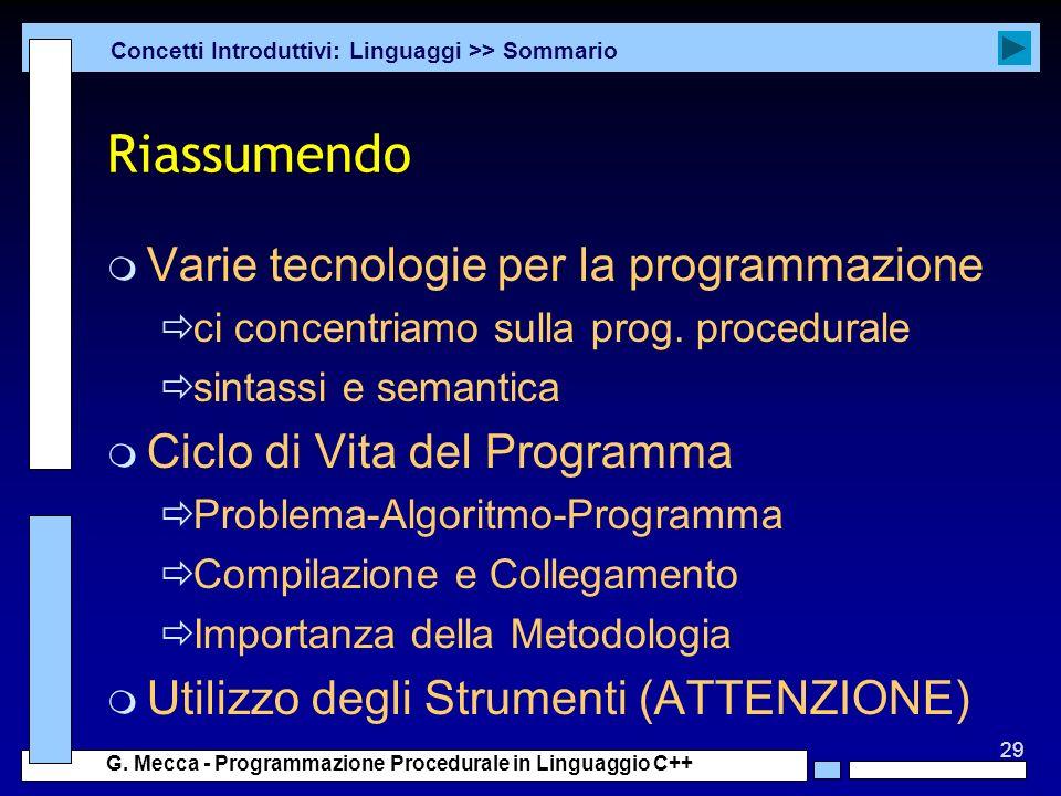 29 G. Mecca - Programmazione Procedurale in Linguaggio C++ Riassumendo m Varie tecnologie per la programmazione ci concentriamo sulla prog. procedural